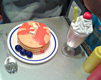 """AG Food, Stack of Pancakes with Blueberries fits American Girl, 18 """" Doll Pancakes, Doll Breakfast, Doll Food"""