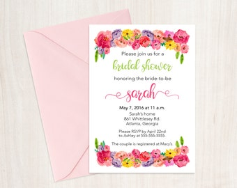 Printable Bridal Shower Invitation, bridal shower, bridal shower invite, floral bridal shower invitation