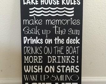 Lake House Rules Custom Sign