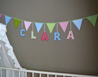 Baptism / birth: pennant Garland with name / fabric letters