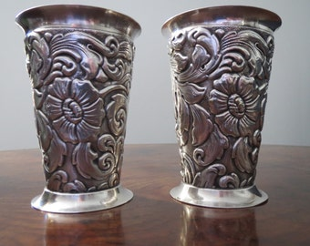 "Vintage pair of Danish silver plated vases of tapered form repousse floral decoration each marked with maker's details height 3 1/2""or 9.5cm"