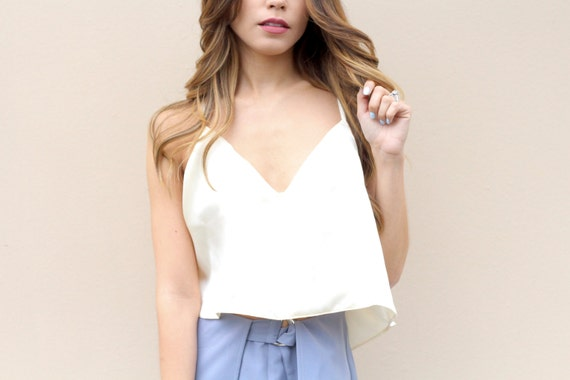 White Crop Top - Custom Colors - Crop Top - Silk Charmeuse