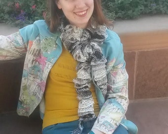 Black and white variegated sequined ruffle scarf