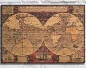 WORLD MAP Wood Art Wood wall art decor Antique World map art Vintage world map Decorative world map wood wall decor Panel effect wood print