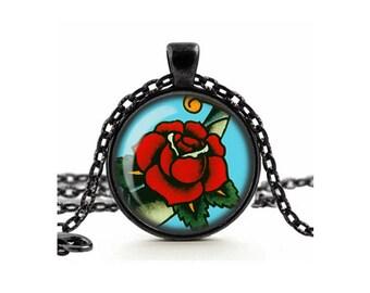 Retro Tattoo Rose Necklace Glass Cameo Pendant Cabochon Tile Necklace Jewellery Sailor Jerry