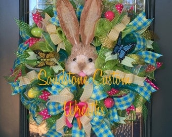 Bunny Wreath, Spring Bunny, Easter Bunny, Easter Deco Mesh, Spring Wreath, Easter Wreath, Bunny Spring Wreath, Easter Bunny Wreath
