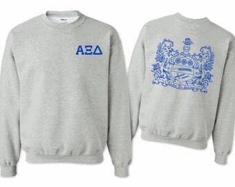 Alpha Xi Delta World Famous Crest Crewneck - Royal Blue Print
