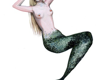 Blonde Mermaid Illustration A3 Print
