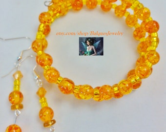 Yellow Orange Memory Wire Bracelet & Earrings  MWB-E#893