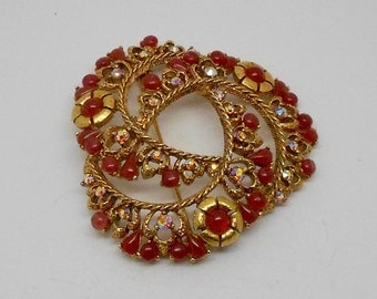 Large Vintage Florenza Red Cabochon and Rhinestone Brooch