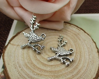 20Pcs 18x25mm Bird on Branch Charms Antique Silver Tone - p1192-B