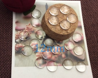 100pcs 12mm High-quality glass cabochon,transparent round domed glass,Clear Photo Glass,Wholesale-c12m