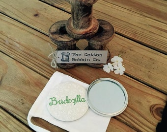 Bridezilla bridesmaid bridal pocket mirror wedding gift favour gift thank you wedding pocket mirror XL 77mm
