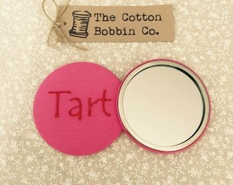 Tart Pocket Mirror Pink Fabric Embroidered Mirror Wedding gift Favour Gift Thank You Gift Friend Gift Stocking Filler XL 77mm