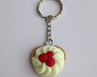 Heart Raspberry Cake Keyring ~ Glow in the Dark ~ Bag charm