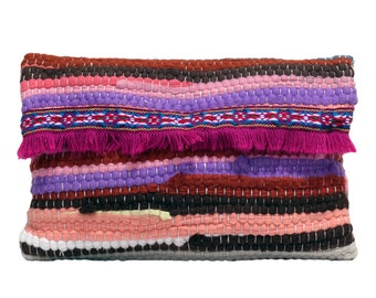 Patchwork bag with fringes