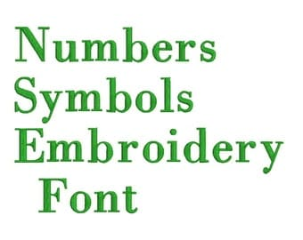 Machine Embroidery Font Designs - Font Letters, Numbers, Symbols Font Alphabet - 1, 1.5 & 2 inch Sizes