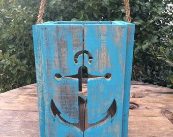 Rustic Anchor Lantern Candle Holder,Nautical Lantern,Beach Decoration,Wedding Decoration,beach decor,Housewarming gift,nautical wedding