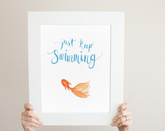 Just Keep Swimming Modern Calligraphy Goldfish Watercolor Painting - Ready to Hang! - Nursery Decor Home Decor