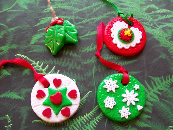 Polymer clay ornament ornament set holiday ornaments christmas