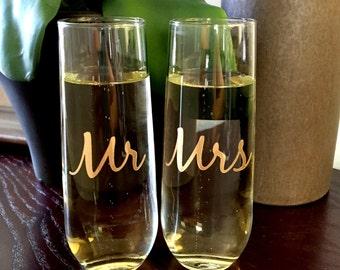 Stemless Champagne, Mr and Mrs, Couple Glasses, Wedding Glasses, Toasting Glasses