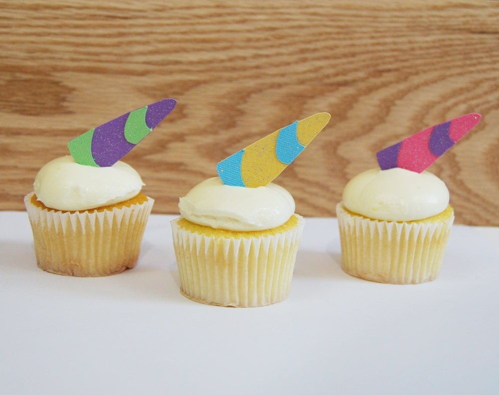 Unicorn Horn Cupcake Toppers Unicorn Party Unicorn Cupcake