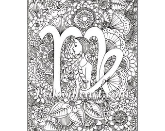 instant digital download - adult coloring page - zodiac sign - virgo