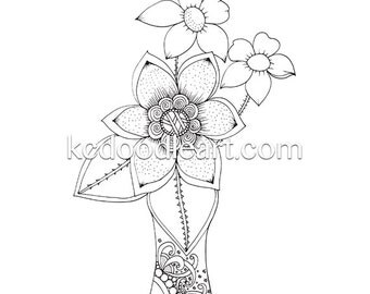 instant digital download - adult or children coloring page - simple flowers