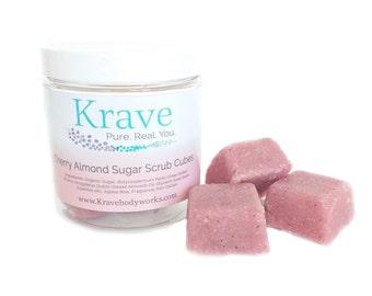 Body Scrub cubes- Cherry Almond - Body Scrub – Exfoliating Scrub – Solid Sugar scrub