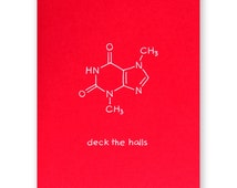 Science Christmas Card - Nerd Chemistry Holiday Card - Deck the Halls Fa la la la la- Christmas Carol Card