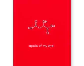 Apple of my Eye Card - Molecule Foodie Love Card - Chemistry Valentine Love Card - Science Nerd Geek - Anniversary Card