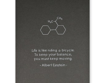 Einstein Bicycle Inspirational Quote Poster - Life is like riding a bicycle Poster - 8x10 inches, unframed wall decor - house home decor