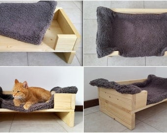 Handmade Wood Pet Bed, Cat Bed, small Dog Bed made of recycled wood with a super soft blanket included