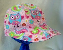 Girls Baseball Caps and Hats Pink Owl Hat Girls summer hat Baby Shower Gift Baby Gift Baby hat Toddler hat or kids hat, cute gift for girls