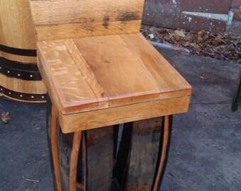 Solid Oak Whisky Barrel Bar Stool with Back