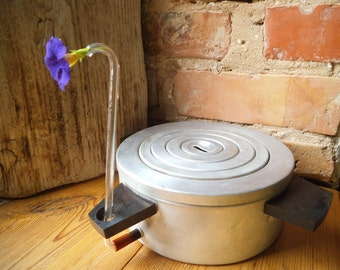 Vintage Distillation Pot Aluminium pan with lid Laboratory ware