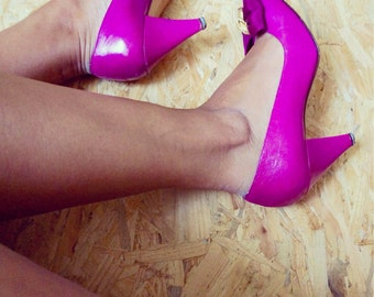 Simone / Vintage shoes / Leather / size 37 / Fuchsia / Made In Italy / Pumps