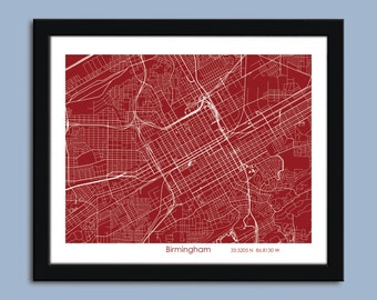 Birmingham map, Birmingham AL city map art, Birmingham wall art poster, Birmingham decorative map