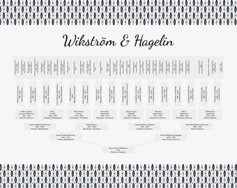 Family Tree | Free Shipping | Customized Family Tree | Anniversary Gift Idea | Ancestor Tree | 6 Generations | Family Trees | Retro Design
