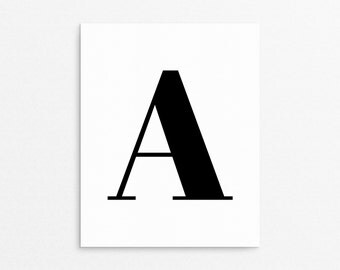 Letter A Poster, A, Monogram Print, Initial Art Prints, Printable Letter Art, Letter A, Letter A Initial, Simplistic Wall Art, Black Letter