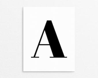 Letter A Poster, A, Monogram Print, Initial Art Prints, Printable Letter Art, Letter A, Letter A Initial, Simplistic Wall Art, Black Letter