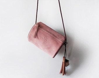 Eraser Pink /Burgundy Suede Cross body Bag