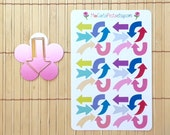 S198 - Fun Arrows Planner Stickers and Kate Spade Arrow Paperclip Set