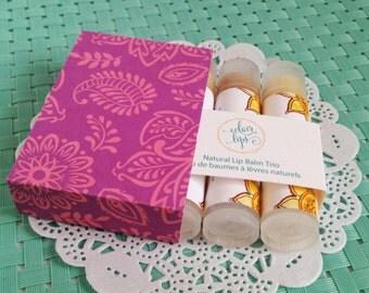 Henna Inspired Floral Box for Lip Balm Gift Set, Chapstick Ensemble for Bridal Attendants in Mehndi Design Box, Pretty Indian Motif Giftset