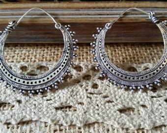 Pair of hoop earrings gypsy in alpaka
