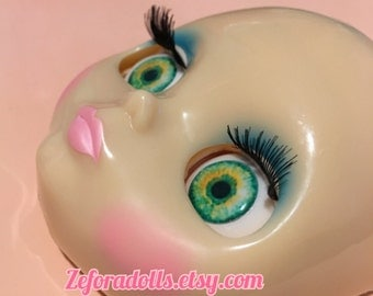 Realistic Green And Yellow Soft Resin Eye Chips For Blythe (14 mm)