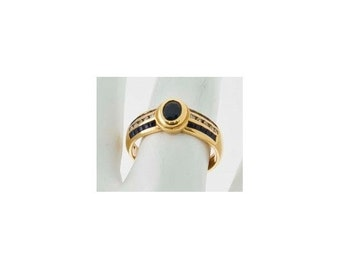 Mineralife old ring in yellow gold, diamonds and sapphires