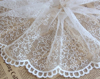 Lacetrim,whiteTulle Embroidered Lace Trim,hard tulle lace trim, retro Embroidered Lace Trim,wedding Veil Lace trim,1 yard - LT1071