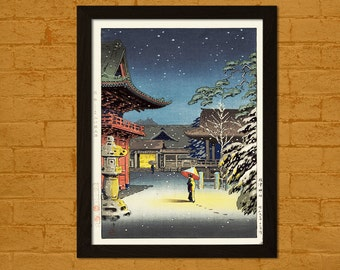 Get 1 Free Print - Japanese Art Print - Snow at Nezu Shrine 1934 - Koitsu Ukiyo-e Print Wall Decor Oriental Decor Edo Period Japanese Poster