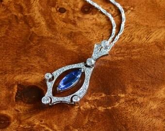 Platinum Edwardian Revival Sapphire & Diamond Pendant Necklace